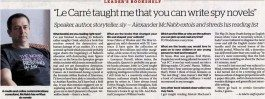 "Khaleej Times – ""Le Carré taught me that you can write spy novels"""
