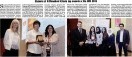The Gulf Today – Students of Al Mawakeb Schools bag awards at the EAFL 2016