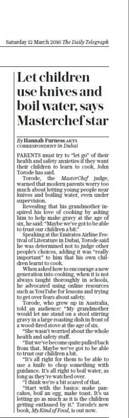 "The Daily Telegraph – ""Let children use knivers and boil water"", says Masterchef star"