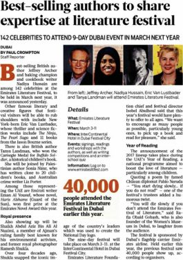 Gulf News – Best-selling authors to share expertise at literature festival