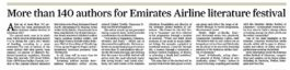 Gulf Times – More than 140 authors for Emirates Airline literature festival