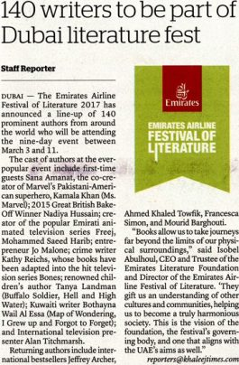 Khaleej Times – 140 writers to be part of Dubai literature fest