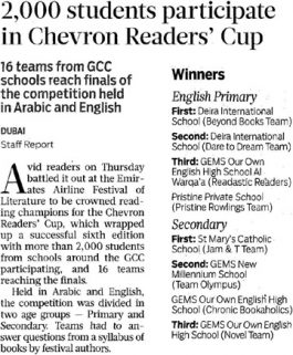 Gulf News – 2,000 students participate in Chevron Readers' Cup