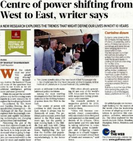 Gulf News – Centre of power shifting from West to East, writer says