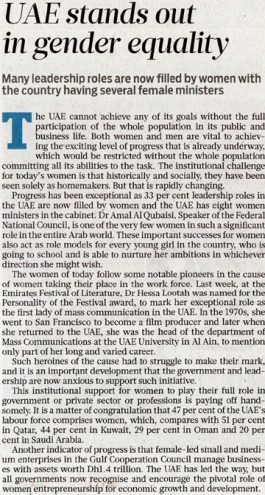 Gulf News The View – UAE stands out in gender equality